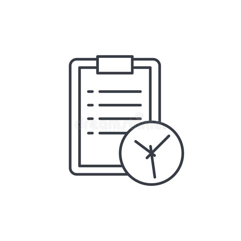 Доска сзажимом для бумаги и часы, линия значок списка дел тонкая Линейный символ вектора иллюстрация вектора