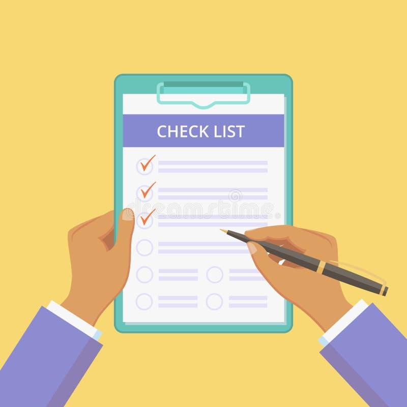 Доска сзажимом для бумаги контрольного списка со знаменем плоских рук желтым бесплатная иллюстрация