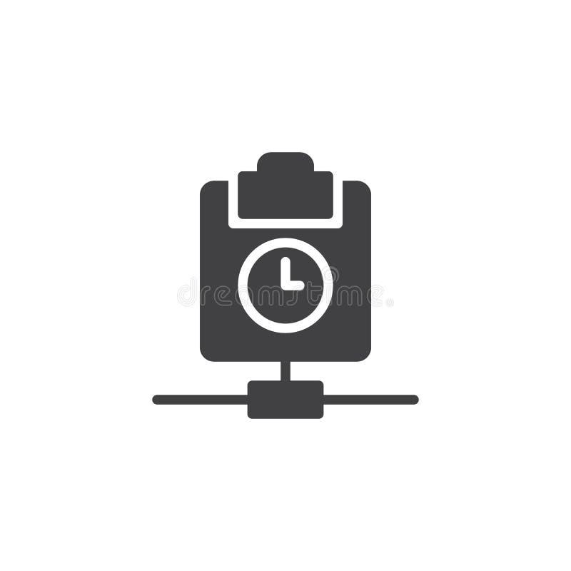 Доска сзажимом для бумаги с вектором значка часов иллюстрация штока