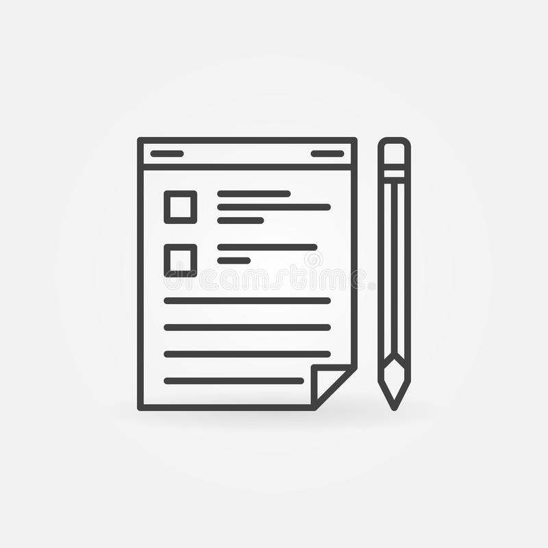 Доска сзажимом для бумаги с значком вектора карандаша в тонкой линии стиле иллюстрация штока