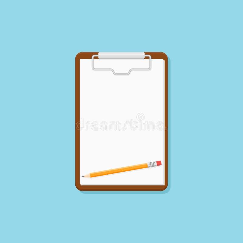 Доска сзажимом для бумаги с чистым листом значка стиля бумаги и карандаша плоского также вектор иллюстрации притяжки corel иллюстрация штока