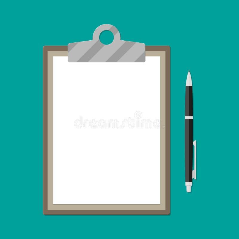 Доска сзажимом для бумаги Брайна с пустыми белой бумагой и ручкой иллюстрация вектора