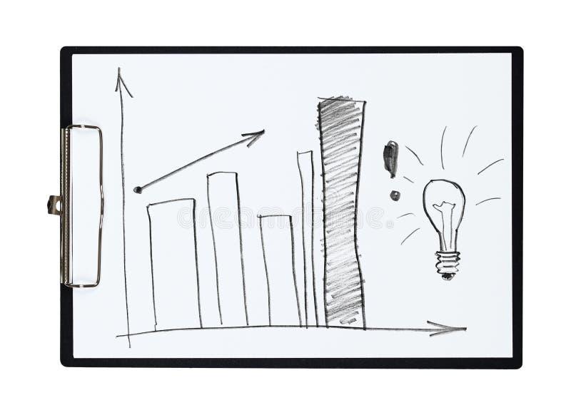 Доска сзажимом для бумаги и бумага покрывают с диаграммой в виде вертикальных полос чертежа карандаша, объектом бесплатная иллюстрация