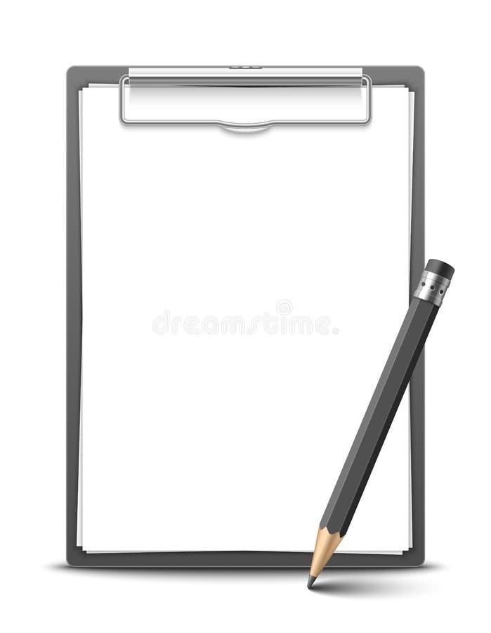 Доска сзажимом для бумаги и карандаш бесплатная иллюстрация