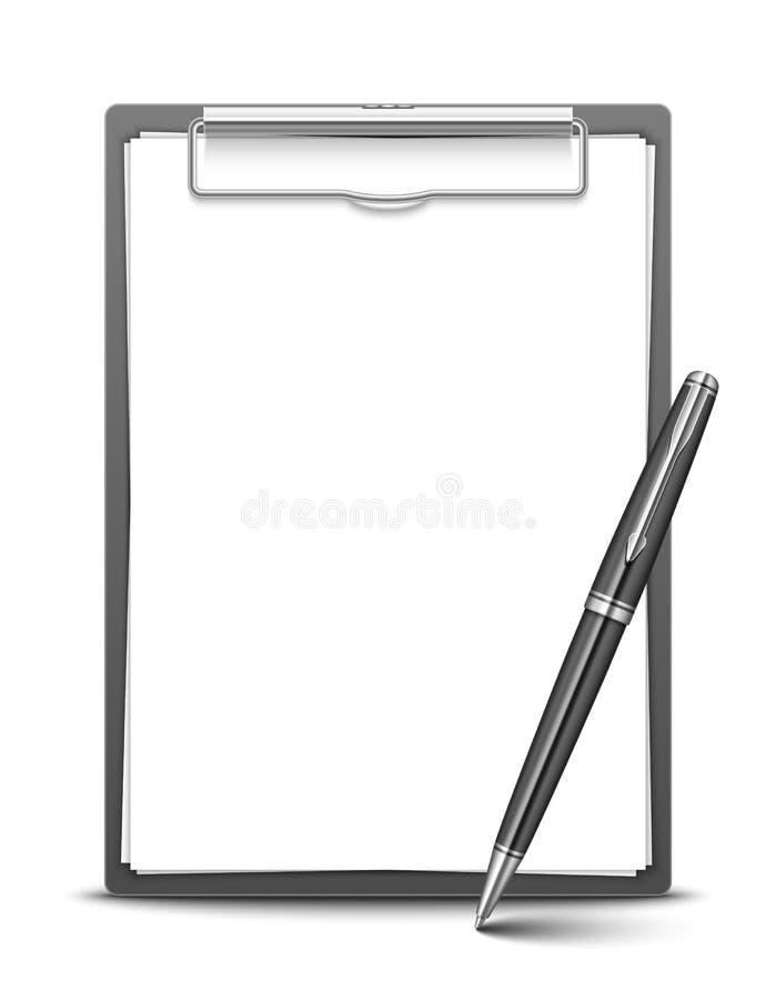 Доска сзажимом для бумаги и ручка бесплатная иллюстрация
