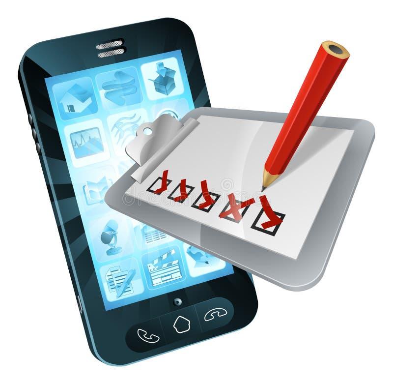 Доска сзажимом для бумаги обзора мобильного телефона онлайн иллюстрация вектора