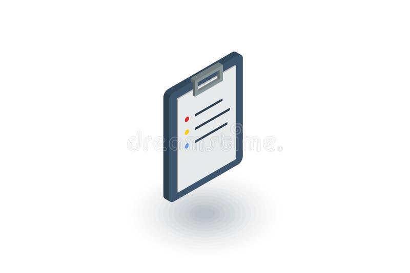 Доска сзажимом для бумаги, список дел, планирует равновеликий плоский значок вектор 3d иллюстрация вектора