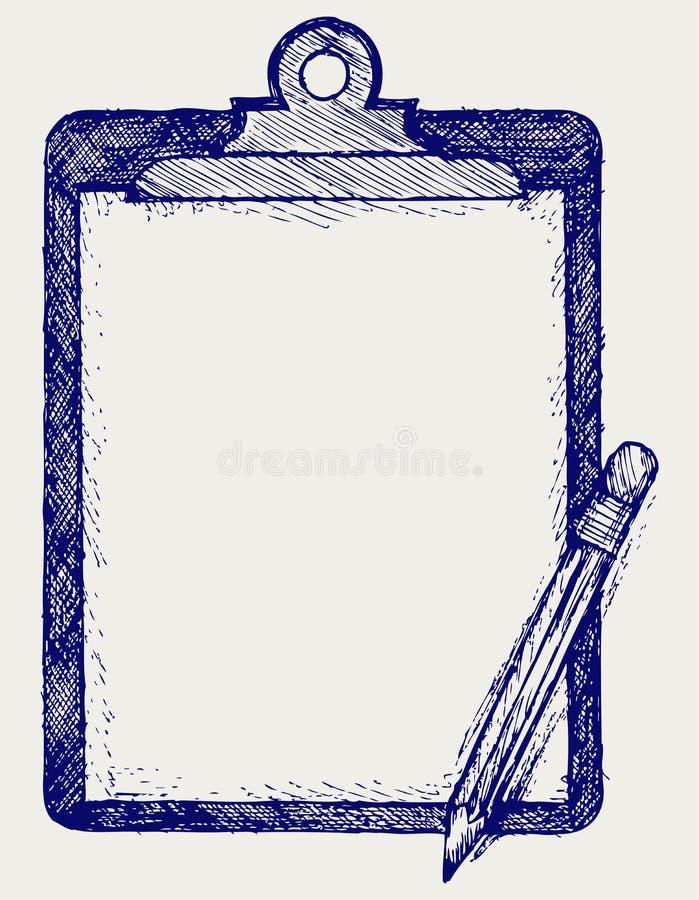 Доска сзажимом для бумаги с карандашем иллюстрация штока