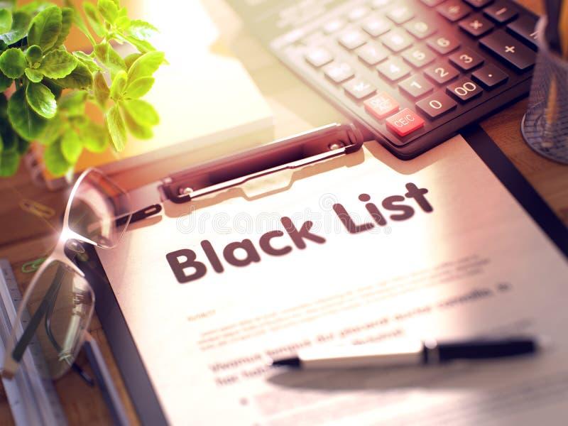 Доска сзажимом для бумаги с черным списком 3D стоковое фото rf