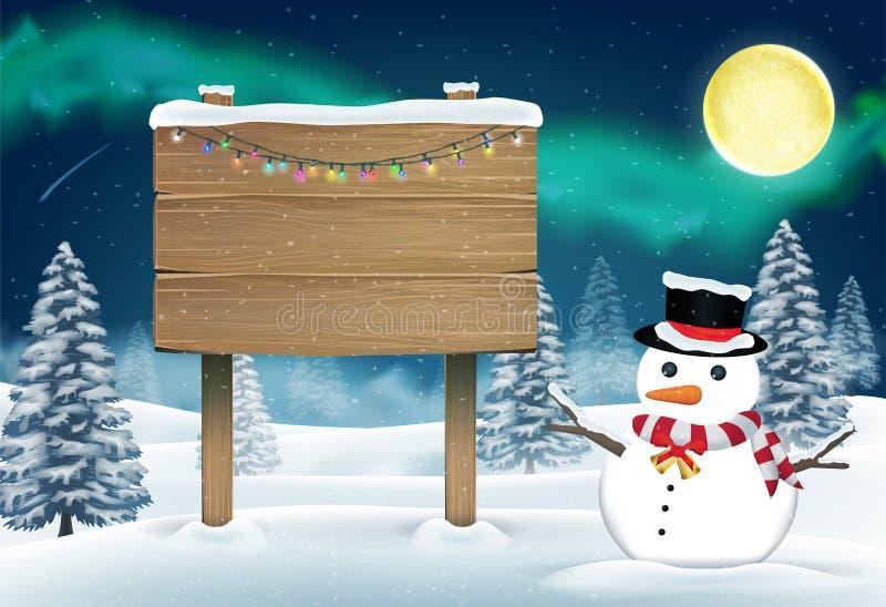 Доска снеговика и древесины подписывает внутри лес зимы nigth иллюстрация вектора
