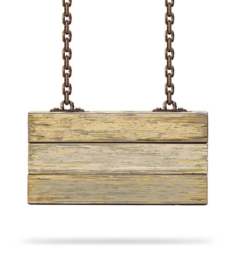 Доска старого цвета деревянная с ржавой цепью. иллюстрация штока