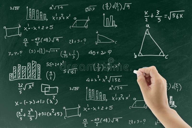 Доска с предпосылкой формулы математики сочинительства руки стоковые изображения