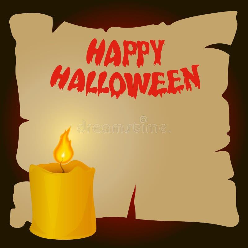 Доска хеллоуина бумажная с горящей свечой иллюстрация штока