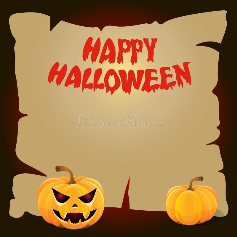 Доска хеллоуина бумажная с желтой тыквой стоковое изображение