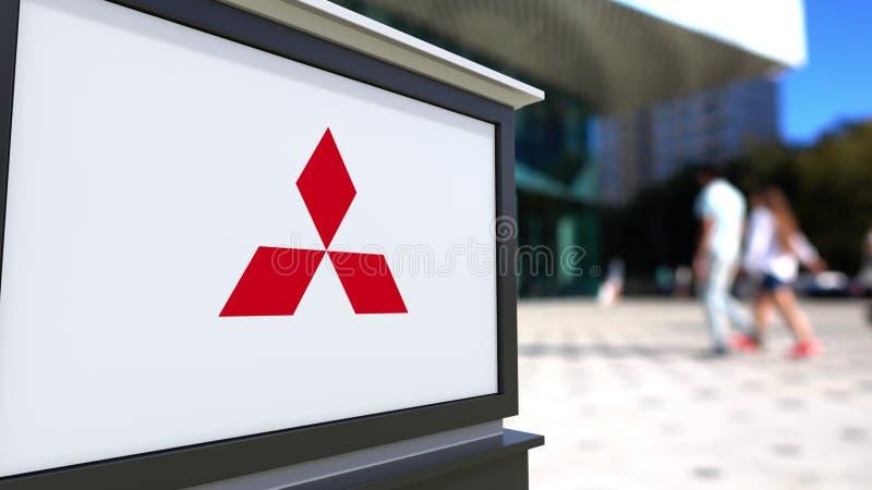 Доска signage улицы с логотипом Мицубиси Запачканный центр офиса и идя предпосылка людей Редакционный перевод 3D иллюстрация вектора