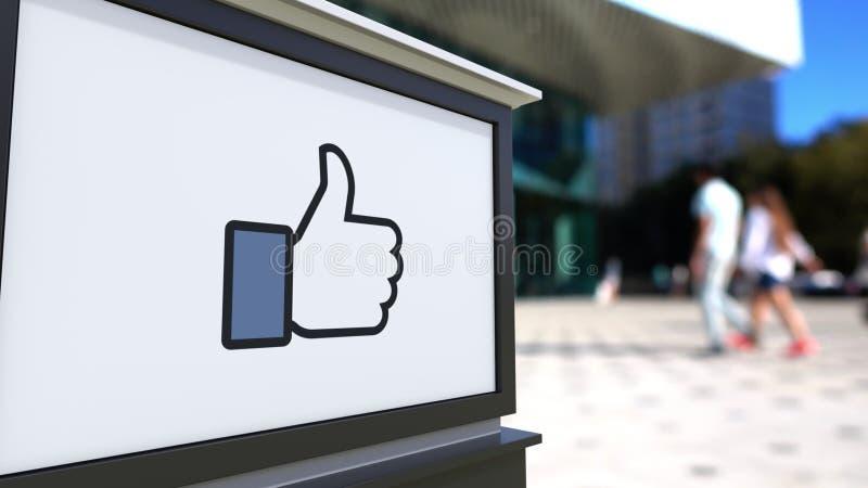 Доска signage улицы с Facebook любит большой палец руки кнопки вверх иллюстрация вектора