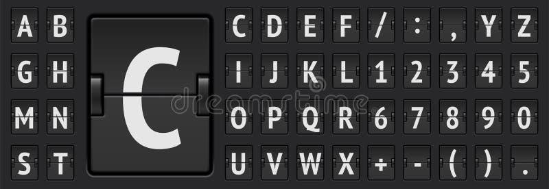 Доски сальто крупного аэропорта иллюстрация вектора алфавита и расписания механической смелая бесплатная иллюстрация