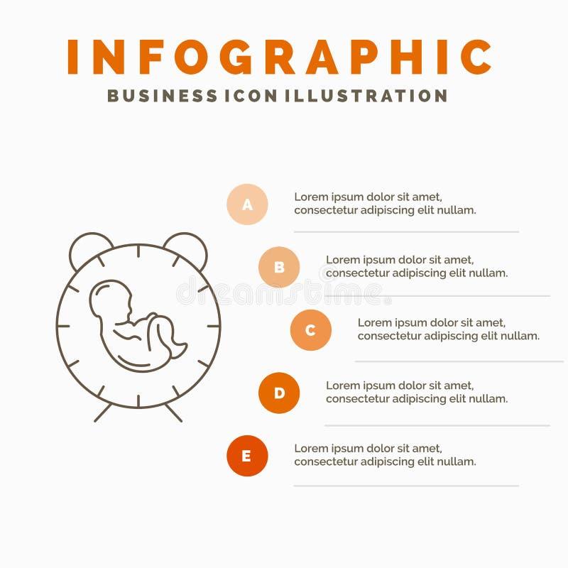 доставка, время, младенец, рождение, шаблон Infographics ребенка для вебсайта и представление Линия серый значок с оранжевое info иллюстрация штока