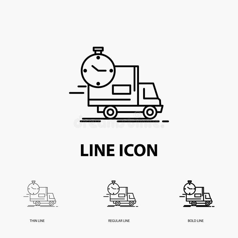 доставка, время, доставка, переход, значок тележки в тонкой, регулярной и смелой линии стиле r иллюстрация вектора