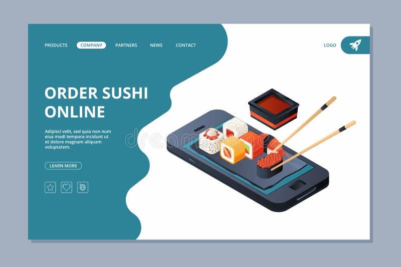 Доставка еды Посадка дела вектора доставки шаблона дизайна страницы вебсайта посадки морепродуктов суш онлайн иллюстрация штока