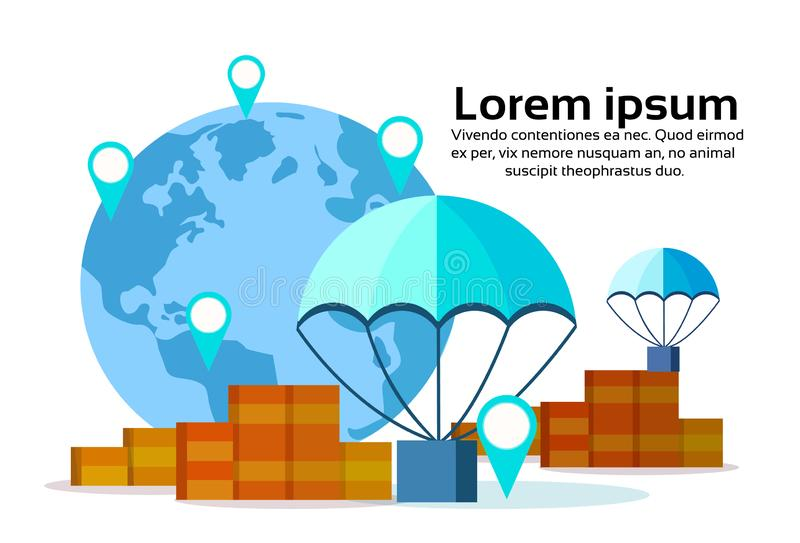 Доставка летая положения концепции обслуживания доставки быстрого пакета коробки бирки geo карты мира парашютов пакета международ иллюстрация штока