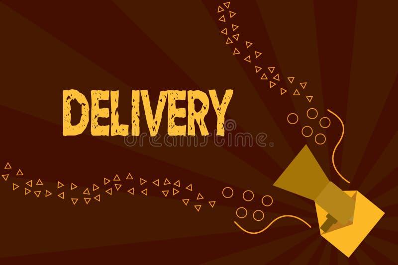 Доставка показа знака текста Схематическое действие фото поставлять пакеты или товары писем давая рождение иллюстрация штока