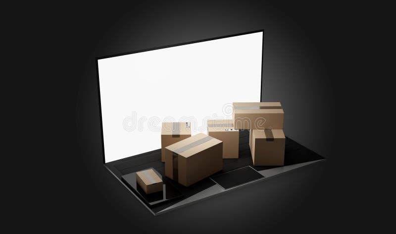 Доставка 3d-illustration пакетов ноутбука тетради компьютера иллюстрация вектора