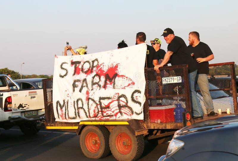 Достаточно-быть-достаточно, анти- кампания Rustenburg убийства фермера, южный стоковые изображения rf