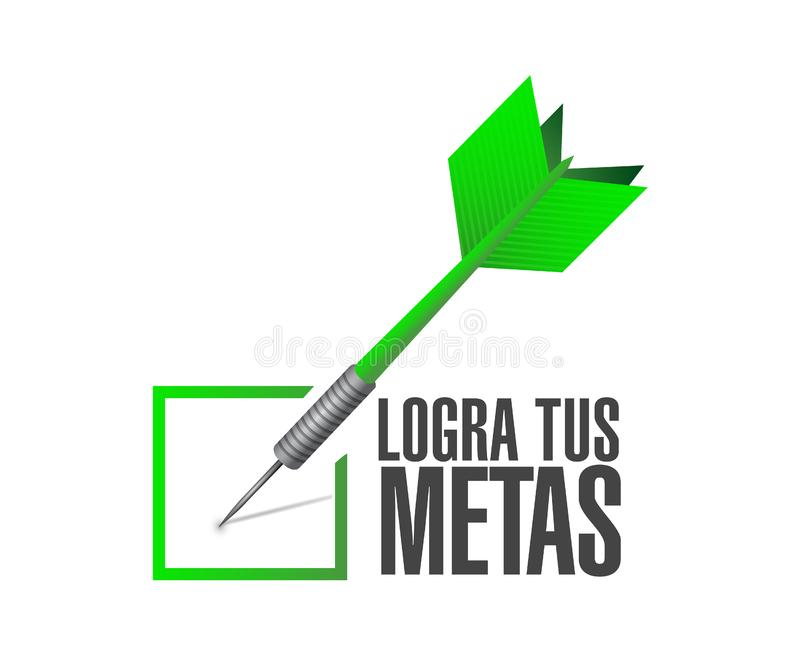 достигните ваших целей проверите дротик подпишите внутри испанский язык стоковые фотографии rf