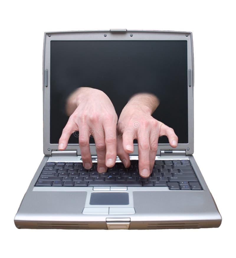 достигните telecommuting техника поддержки настольного компьютера дистанционного стоковое фото rf