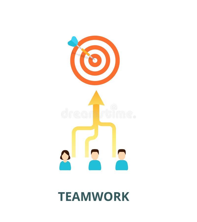 Достижение концепции результатов Совершают команда к одиночной цели - иллюстрации Совмещать искусства в сыгранности бесплатная иллюстрация