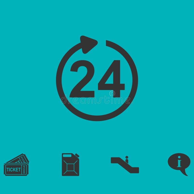 24 доступной часа квартиры значка иллюстрация вектора
