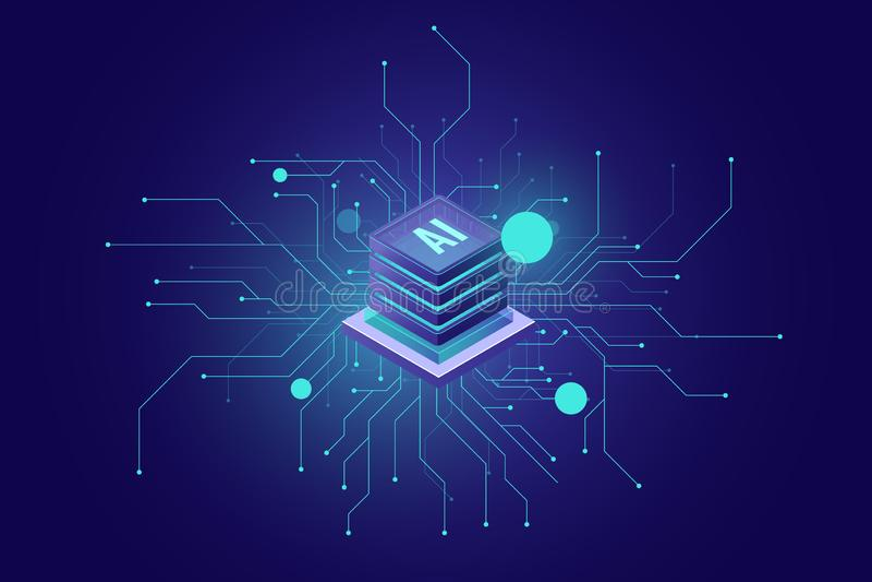 Доступ в интернет, чувство конспекта значка ai искусственного интеллекта равновеликое науки и техники, комнаты сервера иллюстрация штока