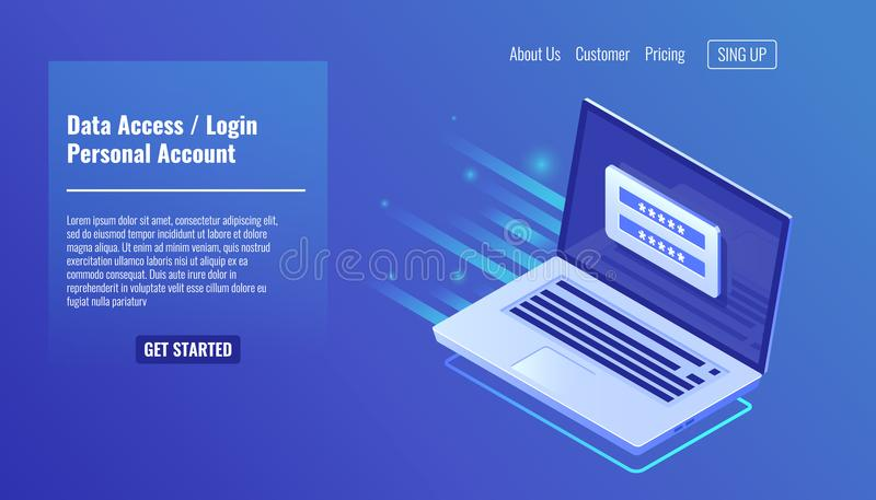 Доступ к данным, форма на компьтер-книжке экрана, персональный счет имени пользователя, процесс утверждения, взаимо- пароль, личн иллюстрация вектора