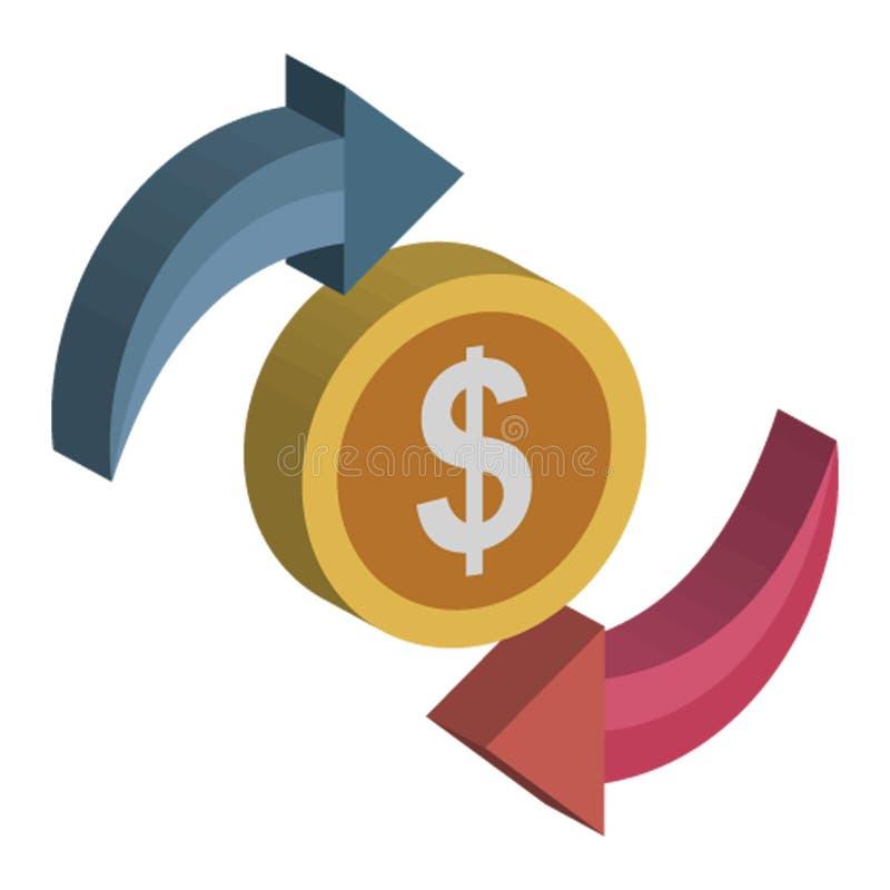 Доход, циркуляция денег изолировал значок вектора который можно легко редактировать иллюстрация вектора