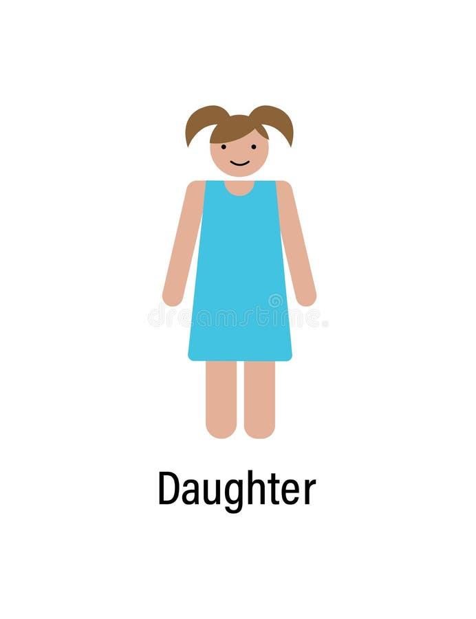 Дочь, значок семьи можно использовать для сети, логотипа, мобильного приложения, UI, UX бесплатная иллюстрация