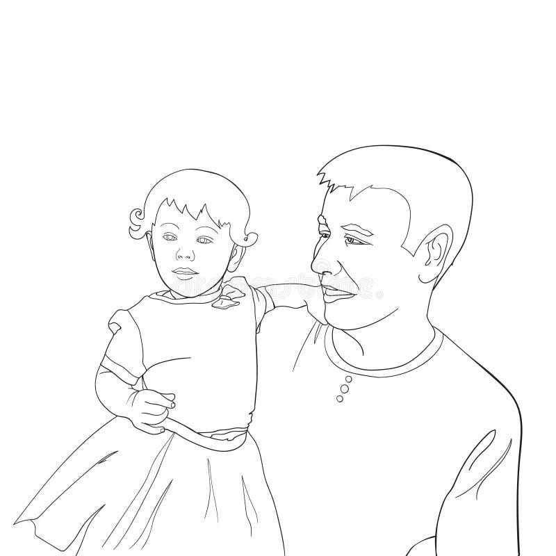 Дочь нося отца на его руках Иллюстрация руки Дня отца вычерченная изолированная на белизне Семья, родитель, отродье, любовь, иллюстрация вектора