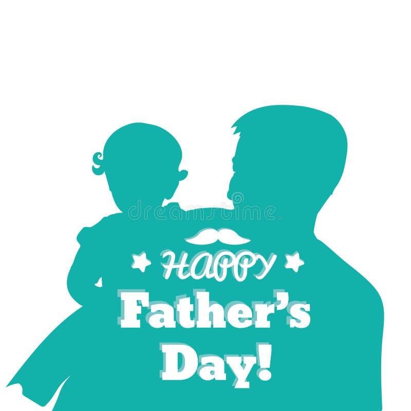 Дочь нося отца на его руках Иллюстрация руки Дня отца вычерченная изолированная на белизне Семья, родитель, отродье, любовь бесплатная иллюстрация