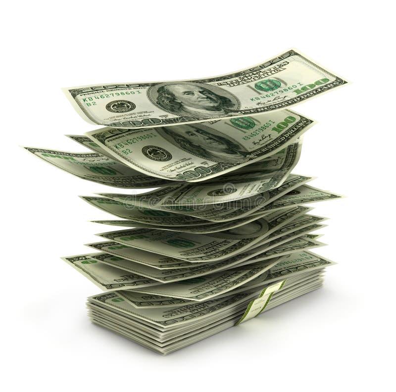 Долларовые банкноты летания в стоге, стоковая фотография rf