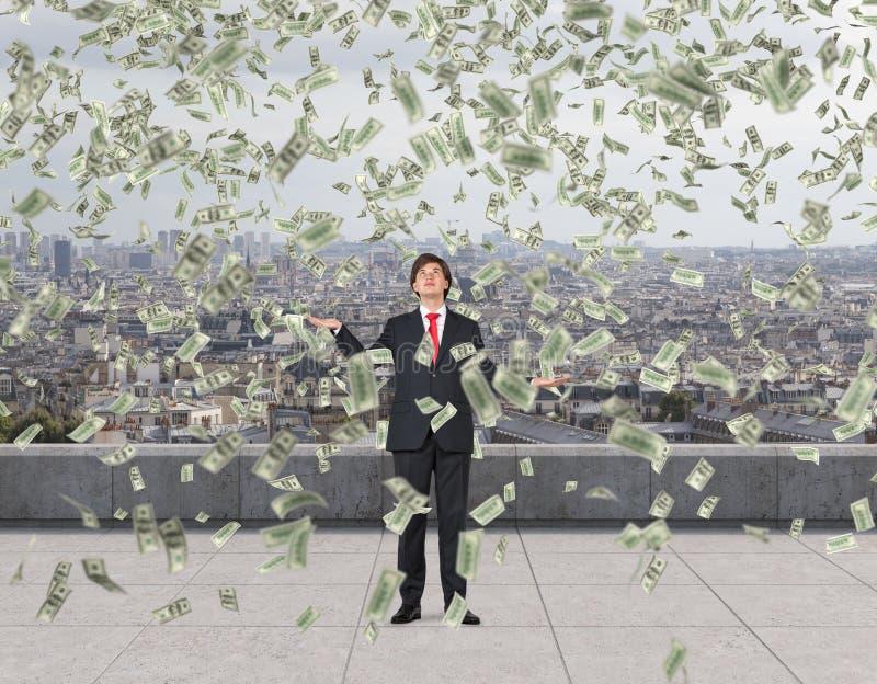 Долларовые банкноты летания стоковое изображение rf