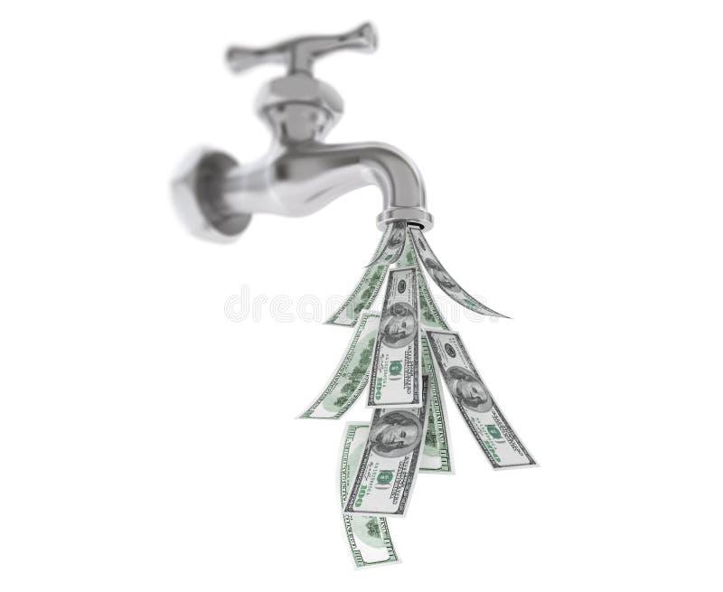 Долларовые банкноты приходя вне от водопроводного крана хрома стоковые изображения