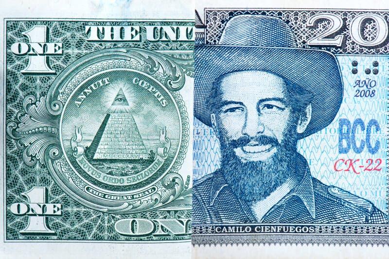 Долларовые банкноты против песо стоковые изображения rf