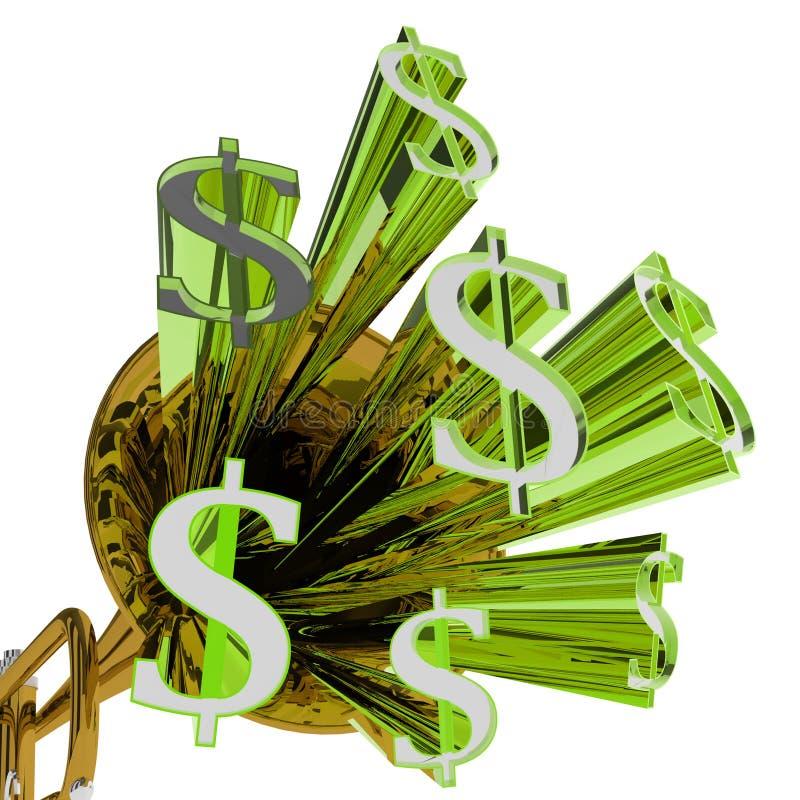 Доллары знака значат валюту и финансы денег иллюстрация штока