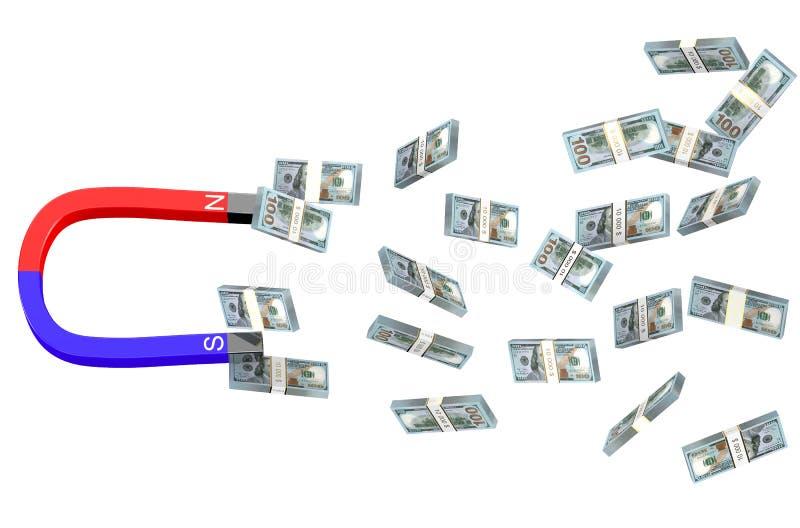 Доллары и магнит иллюстрация вектора
