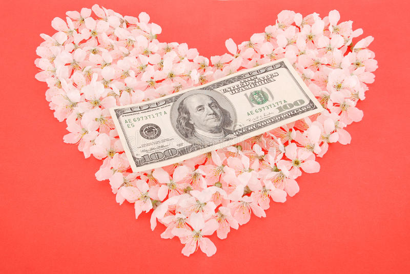 Доллар на сердце сделанном из цветков стоковые фото