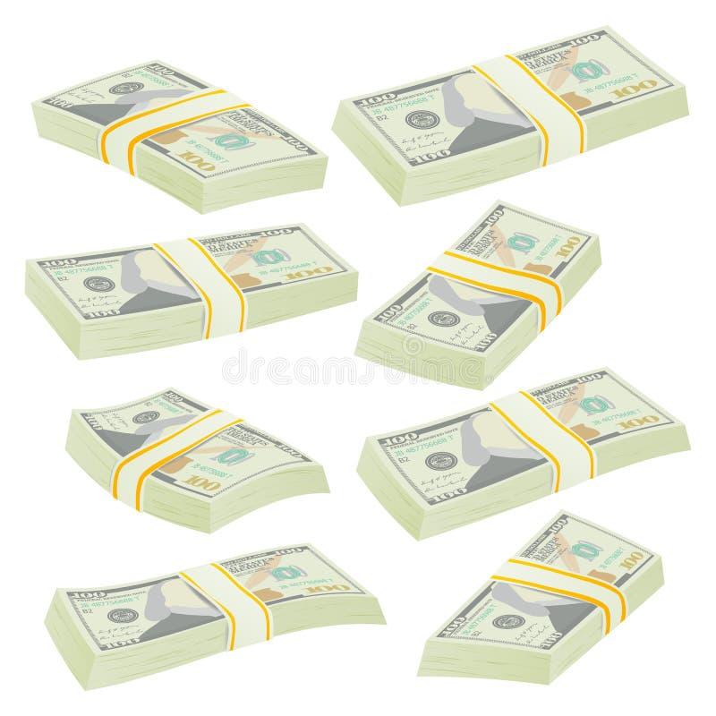 Доллар штабелирует вектор Банкноты денег Символ наличных денег Иллюстрация Билла денег изолированная иллюстрация вектора