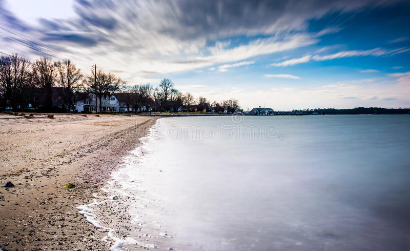 Долгая выдержка на чесапикском заливе в Оксфорде, Мэриленде стоковое изображение