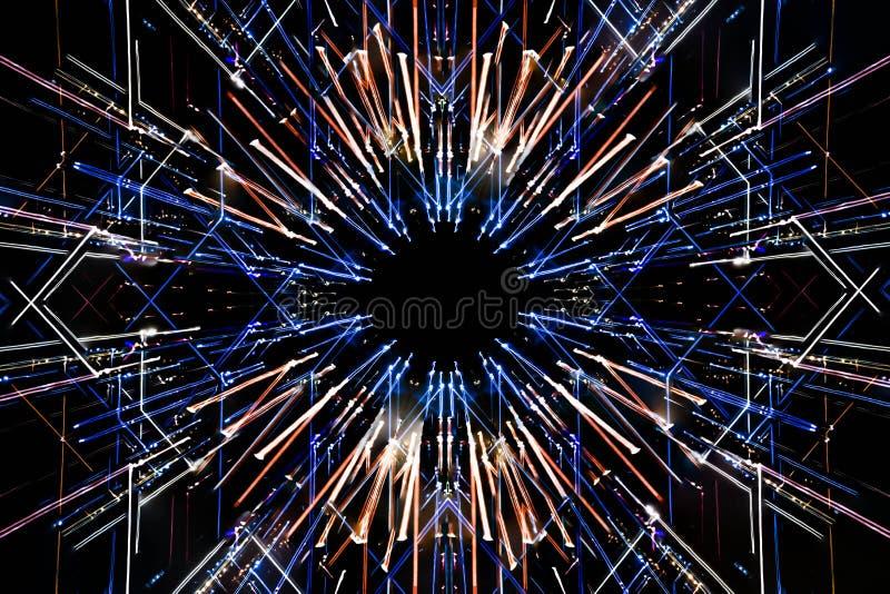 Долгая выдержка, пестротканые геометрические линии движения света стоковое изображение rf