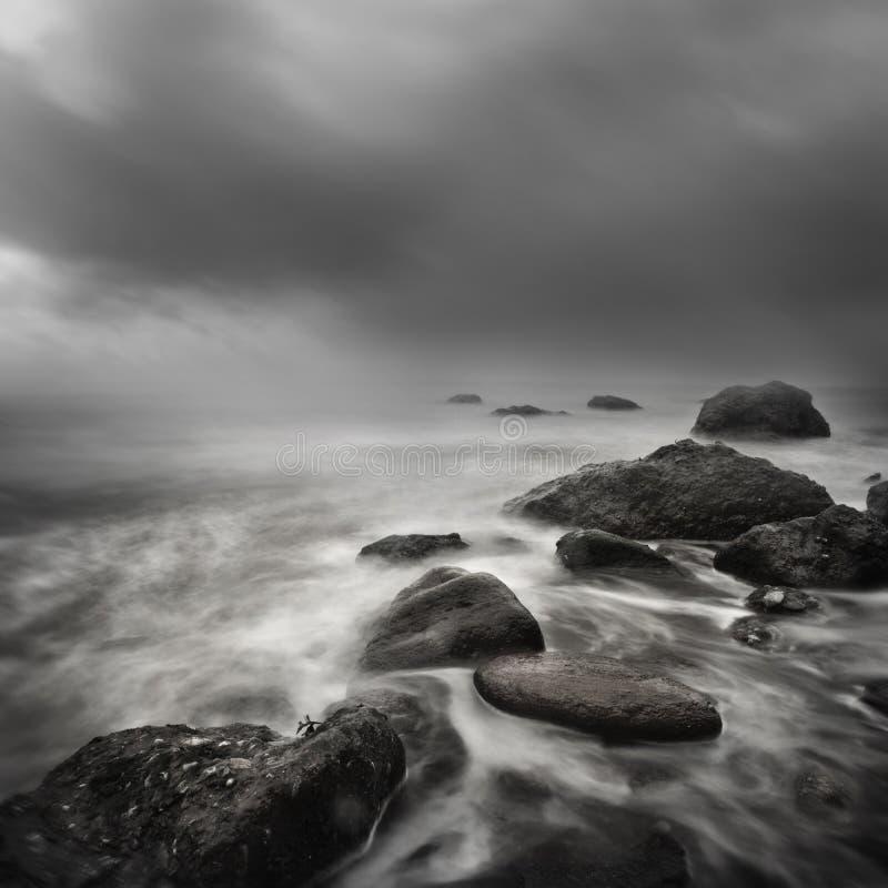 Долгая выдержка шторма моря стоковое изображение rf