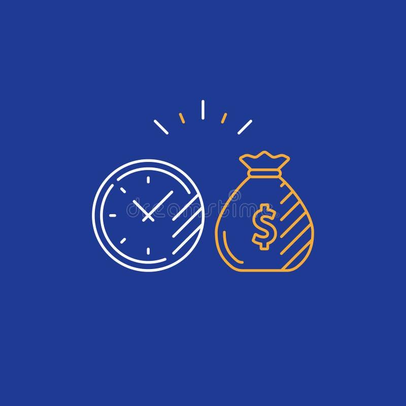 Долгосрочные инвестиции, возвращение на инвестировать деньги, линию значок планирования пенсионного фонда иллюстрация вектора